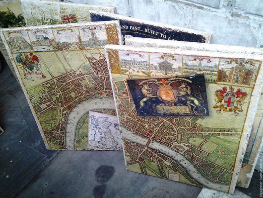 Город ручной работы. Ярмарка Мастеров - ручная работа. Купить Панно парное деревянное 40х60_Карта Лондона и герб Стюартов W0195. Handmade.