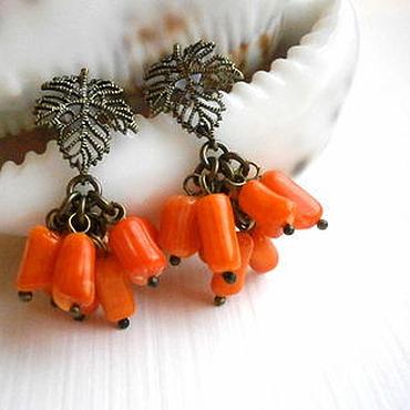 """Украшения ручной работы. Ярмарка Мастеров - ручная работа """"Оранжевое настроение"""" -серьги из коралла.. Handmade."""