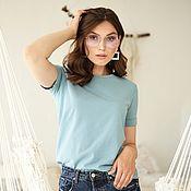 Одежда handmade. Livemaster - original item T-shirt cotton basic loose Blue. Handmade.