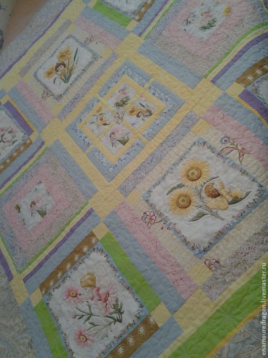 """Пледы и одеяла ручной работы. Ярмарка Мастеров - ручная работа. Купить Лоскутное одеяло """"Феи цветов"""". Handmade. Рисунок, дети"""