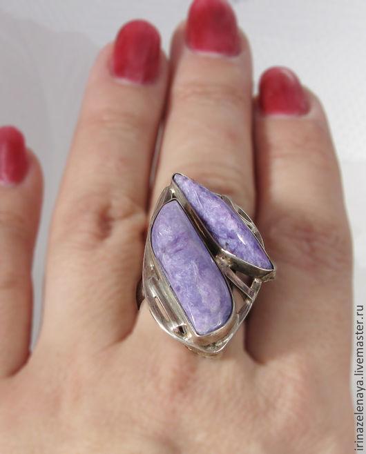 Кольцо из серебра купить. Серебряное кольцо купить. Кольцо с чароитом купить. Чароит купить. Кабошон чароит купить. Украшение с чароитом купить. IrinaZelenaya. Ярмарка Мастеров.