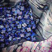 """Аксессуары ручной работы. Ярмарка Мастеров - ручная работа Батик шарф """"Незабудки"""". Handmade."""