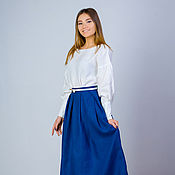 Одежда handmade. Livemaster - original item Skirt linen, skirt blue, skirt linen, skirt dressy. Handmade.