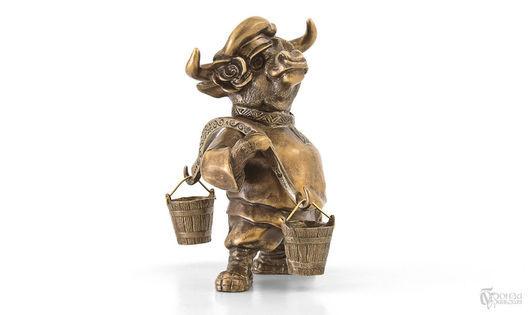 Статуэтки ручной работы. Ярмарка Мастеров - ручная работа. Купить Бык с коромыслом (в/к). Handmade. Бык, бронза, подарок на новый год