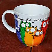 Посуда ручной работы. Ярмарка Мастеров - ручная работа Кружка в подарок с котами, кружка с росписью, кружка с надписью. Handmade.