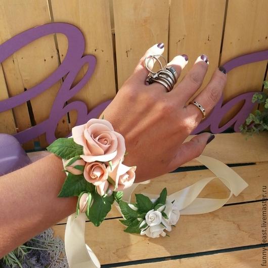 """Свадебные украшения ручной работы. Ярмарка Мастеров - ручная работа. Купить Браслет """"чайная роза"""". Handmade. Кремовый, свадебные аксессуары"""