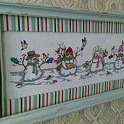 """Подарки к праздникам ручной работы. Ярмарка Мастеров - ручная работа Картина """"Снеговики"""". Handmade."""