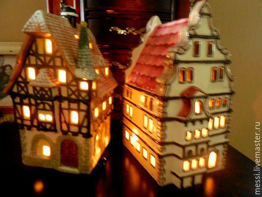 Винтажные предметы интерьера. Ярмарка Мастеров - ручная работа. Купить Рождественские подсвечники, рождественская деревня, пряничный домик. Handmade. Комбинированный