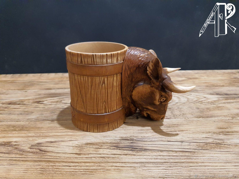 Beer mug made of wood carved ' Bull'. Hand carved, Mugs and cups, Ryazan,  Фото №1
