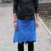 Одежда handmade. Livemaster - original item Skirt Amazon of suede electric blue. Handmade.