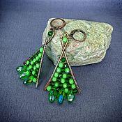 Украшения handmade. Livemaster - original item Copper Triangle Earrings green wire wrap. Handmade.