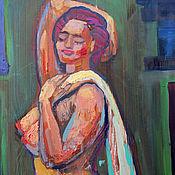 Картины и панно handmade. Livemaster - original item Oil painting on natural wood. Goddess. Nude. Handmade.