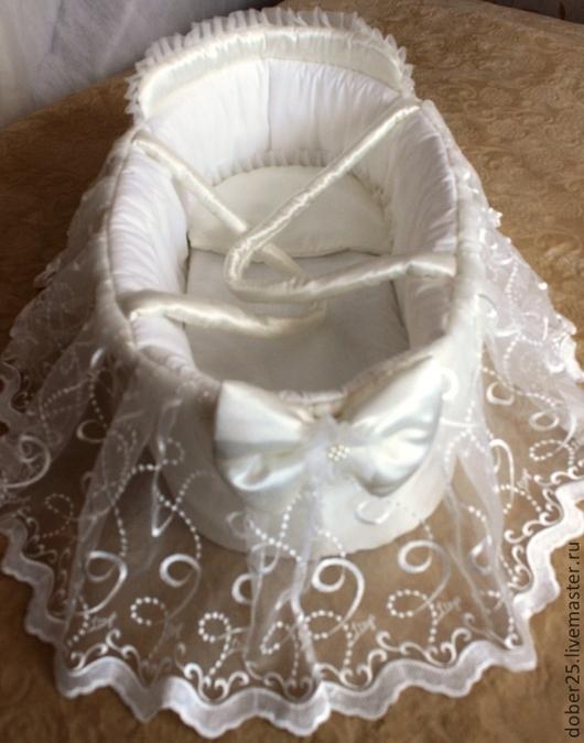 Для новорожденных, ручной работы. Ярмарка Мастеров - ручная работа. Купить Люлька (корзина)-переноска для новорожденных на выписку. Handmade. Однотонный
