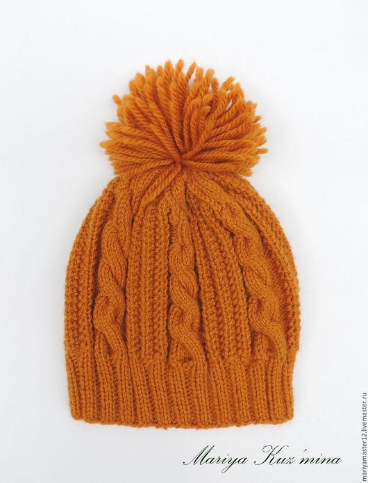 Шапки ручной работы. Ярмарка Мастеров - ручная работа. Купить Зимняя шапка с косами. Handmade. Оранжевый, шапка вязаная