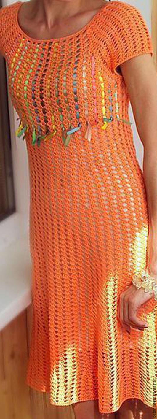 Dresses handmade. Livemaster - handmade. Buy The two-sided crocheted cotton dress Orange mood for stylish women.