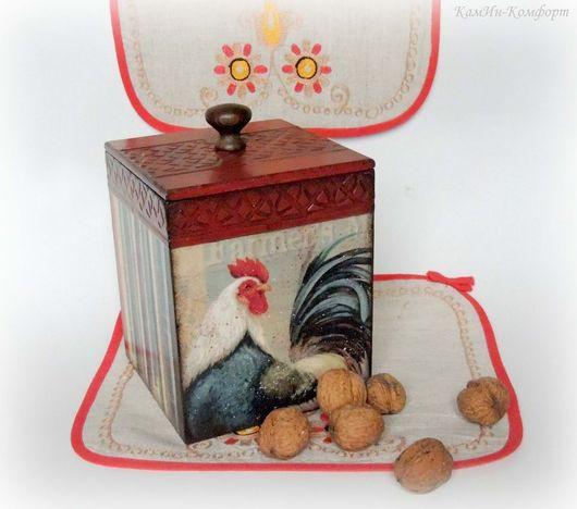 """Кухня ручной работы. Ярмарка Мастеров - ручная работа. Купить Короб для хранения """"Петухи"""" (большой). Handmade. Короб для мелочей, дерево"""