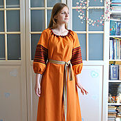 Русский стиль handmade. Livemaster - original item Russian Slavic linen dress