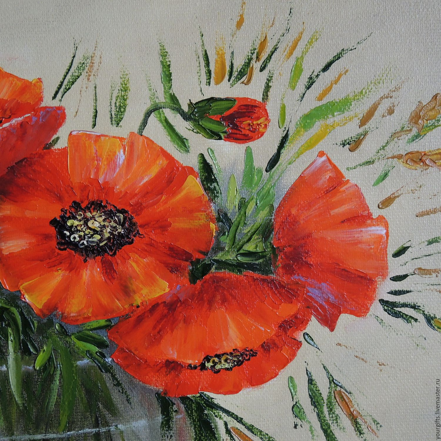 """""""Red poppies"""" oil Painting Flowers in a vase – заказать на ..."""
