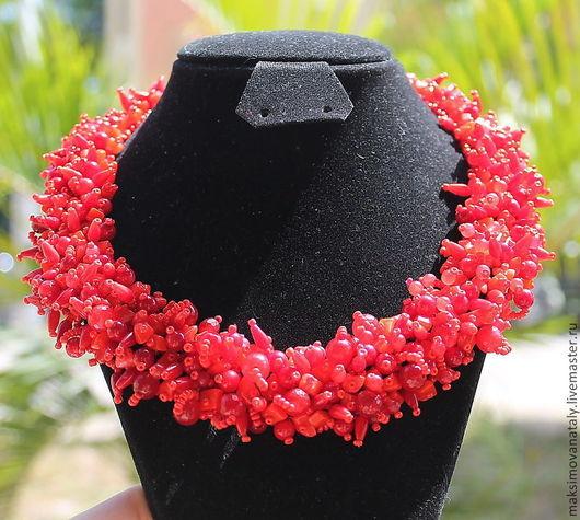 Колье, бусы ручной работы. Ярмарка Мастеров - ручная работа. Купить Колье Аленький цветочек из красного агата и натурального коралла. Handmade.