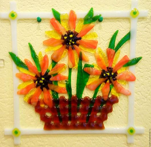 Картины цветов ручной работы. Ярмарка Мастеров - ручная работа. Купить панно цветы. Handmade. Желтый, в кухню