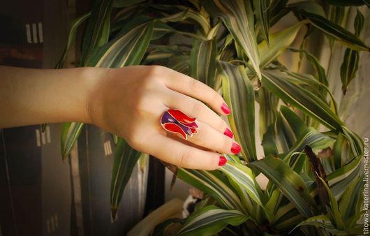 Кольца ручной работы. Ярмарка Мастеров - ручная работа. Купить кольцо Тюльпан. Handmade. Ярко-красный, малиновый, витражное стекло