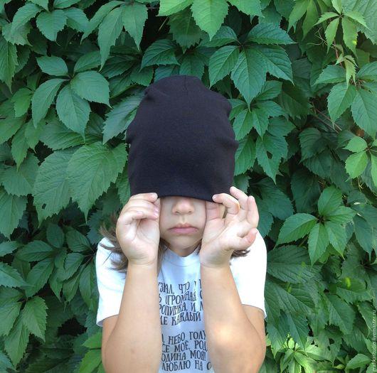Шапки и шарфы ручной работы. Ярмарка Мастеров - ручная работа. Купить Шапка осень-весна черная хлопок. Handmade. Черный