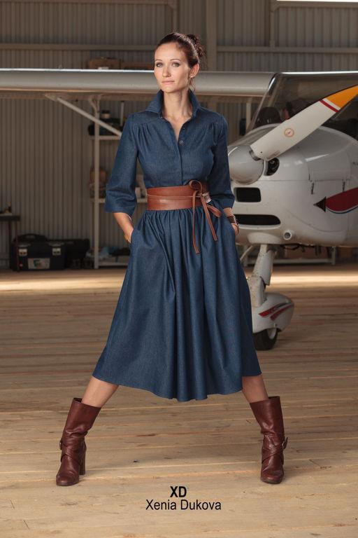 Джинсовые платья ниже колен