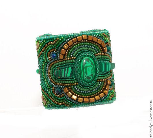 """Браслеты ручной работы. Ярмарка Мастеров - ручная работа. Купить Браслет """"Камбоджа"""". Handmade. Болотный, тёмно-зелёный, фетр"""