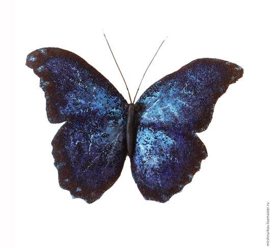 """Броши ручной работы. Ярмарка Мастеров - ручная работа. Купить Брошь из кожи  """"Бабочка"""". Handmade. Тёмно-синий, брошка на шарф"""