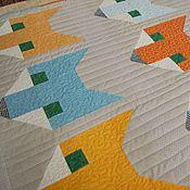 """Для дома и интерьера ручной работы. Ярмарка Мастеров - ручная работа Лоскутное одеяло """"Лисички"""" лоскутный плед. Handmade."""