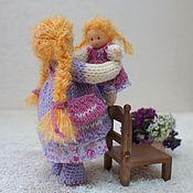 Куклы и игрушки ручной работы. Ярмарка Мастеров - ручная работа Куколка с кукленком, 12 и 6.5 см. Handmade.