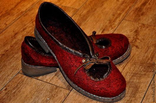 """Обувь ручной работы. Ярмарка Мастеров - ручная работа. Купить Валяные тапочки-балетки """"Краски осени"""". Handmade. Бордовый"""