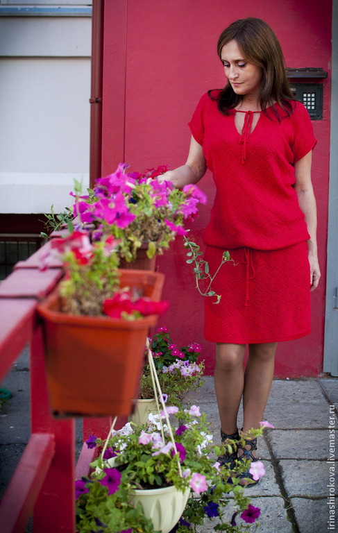 Платья ручной работы. Ярмарка Мастеров - ручная работа. Купить Вязаное платье авторское Красивое. Handmade. Ярко-красный