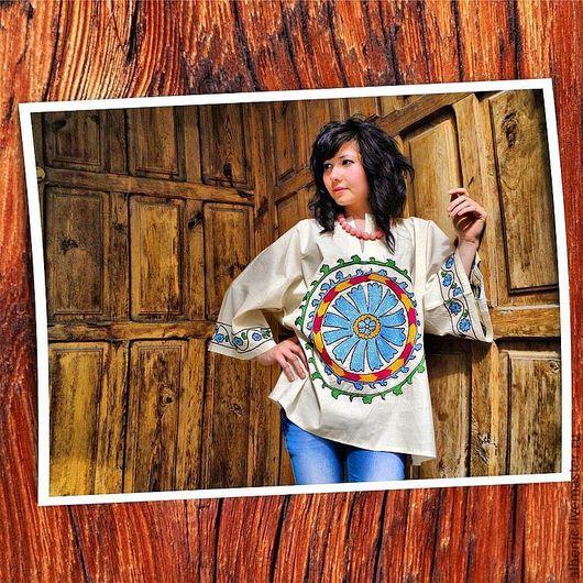 """Этническая одежда ручной работы. Ярмарка Мастеров - ручная работа. Купить рубаха """"Венок"""". Handmade. Бежевый, восток, этностиль, вышивка"""