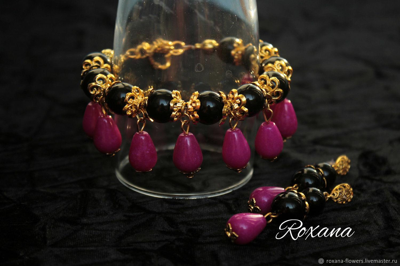 Bold fuchsia large bracelet and earrings of black agate and jade, Jewelry Sets, Khimki,  Фото №1