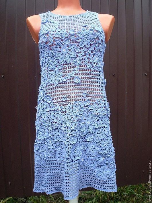 """Платья ручной работы. Ярмарка Мастеров - ручная работа. Купить Платье """" Нежнее нежного"""". Handmade. Синий, платье, стеклярус"""