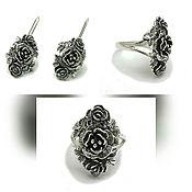 Зоотовары handmade. Livemaster - original item Silver ring Flowers. Earrings Flowers.. Handmade.