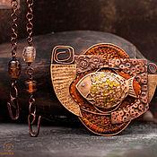 """Украшения ручной работы. Ярмарка Мастеров - ручная работа Колье """"Золотая рыба"""" (бронза, медь, латунь, лэмпворк, шерсть). Handmade."""