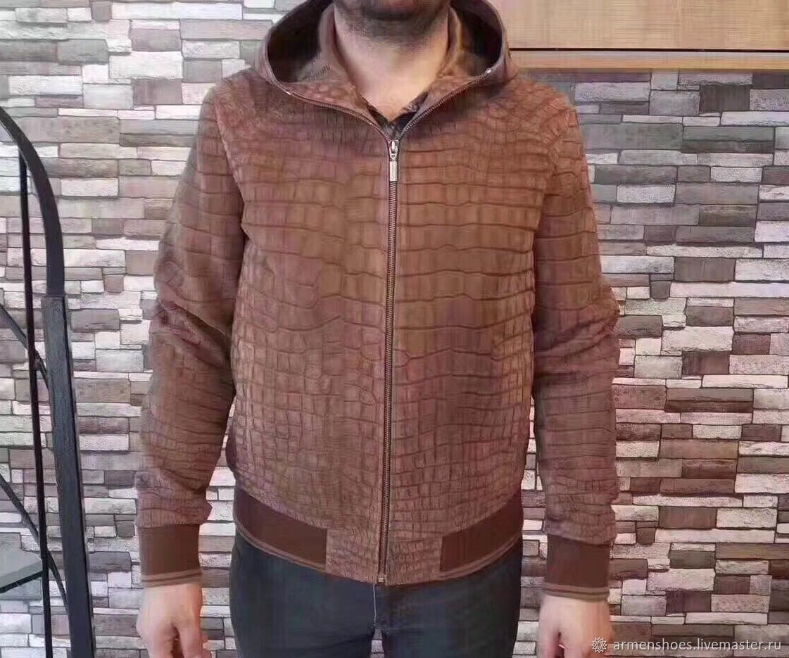 Nubuck crocodile leather hooded jacket!, Mens outerwear, Tosno,  Фото №1