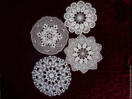 Текстиль, ковры ручной работы. Ярмарка Мастеров - ручная работа. Купить Комплект салфеток 22-26см. Handmade. Белый