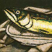 """Картины и панно ручной работы. Ярмарка Мастеров - ручная работа """"Рыба поднимающая голову"""" работа маслом. Handmade."""