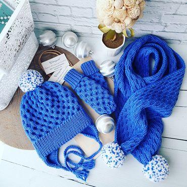 """Работы для детей, ручной работы. Ярмарка Мастеров - ручная работа Комплект """"Айсберг""""  шапка с помпоном, шарф, варежки. Handmade."""