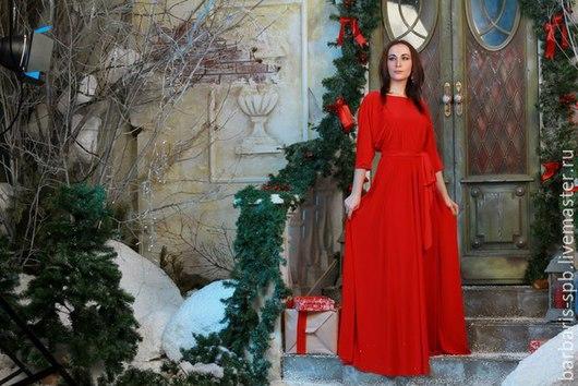Платья ручной работы. Ярмарка Мастеров - ручная работа. Купить Платье Амина с рукавом летучая мышь, длинное красное платье. Handmade.