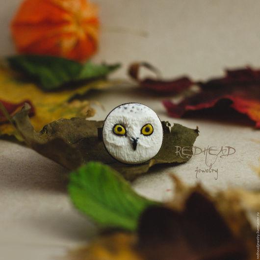 Кольца ручной работы. Ярмарка Мастеров - ручная работа. Купить Совушка белая ручная кольцо. Handmade. Сова, птица