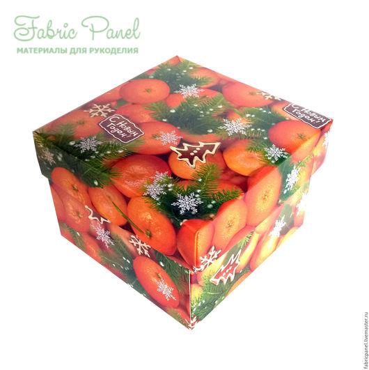 """Упаковка ручной работы. Ярмарка Мастеров - ручная работа. Купить Коробка подарочная самосборная """"Мандарины"""". Handmade. Комбинированный, новогодняя коробка"""
