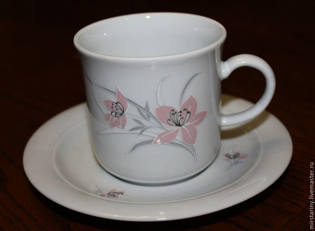 Винтажная посуда. Ярмарка Мастеров - ручная работа. Купить Винтаж: Винтажная, нежная фарфоровая чайная пара, Kahla, Германия 1970-е г. Handmade.