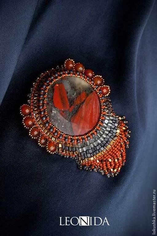"""Броши ручной работы. Ярмарка Мастеров - ручная работа. Купить """"Глаз орла"""". Handmade. Ярко-красный, бордовый, серый"""