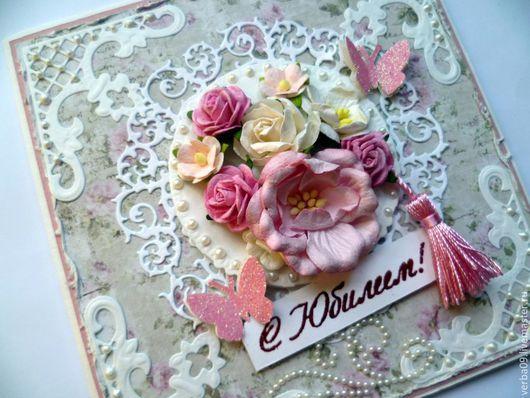 """Открытки на день рождения ручной работы. Ярмарка Мастеров - ручная работа. Купить Открытка """"Розовый блюз"""". Handmade. Бледно-розовый"""