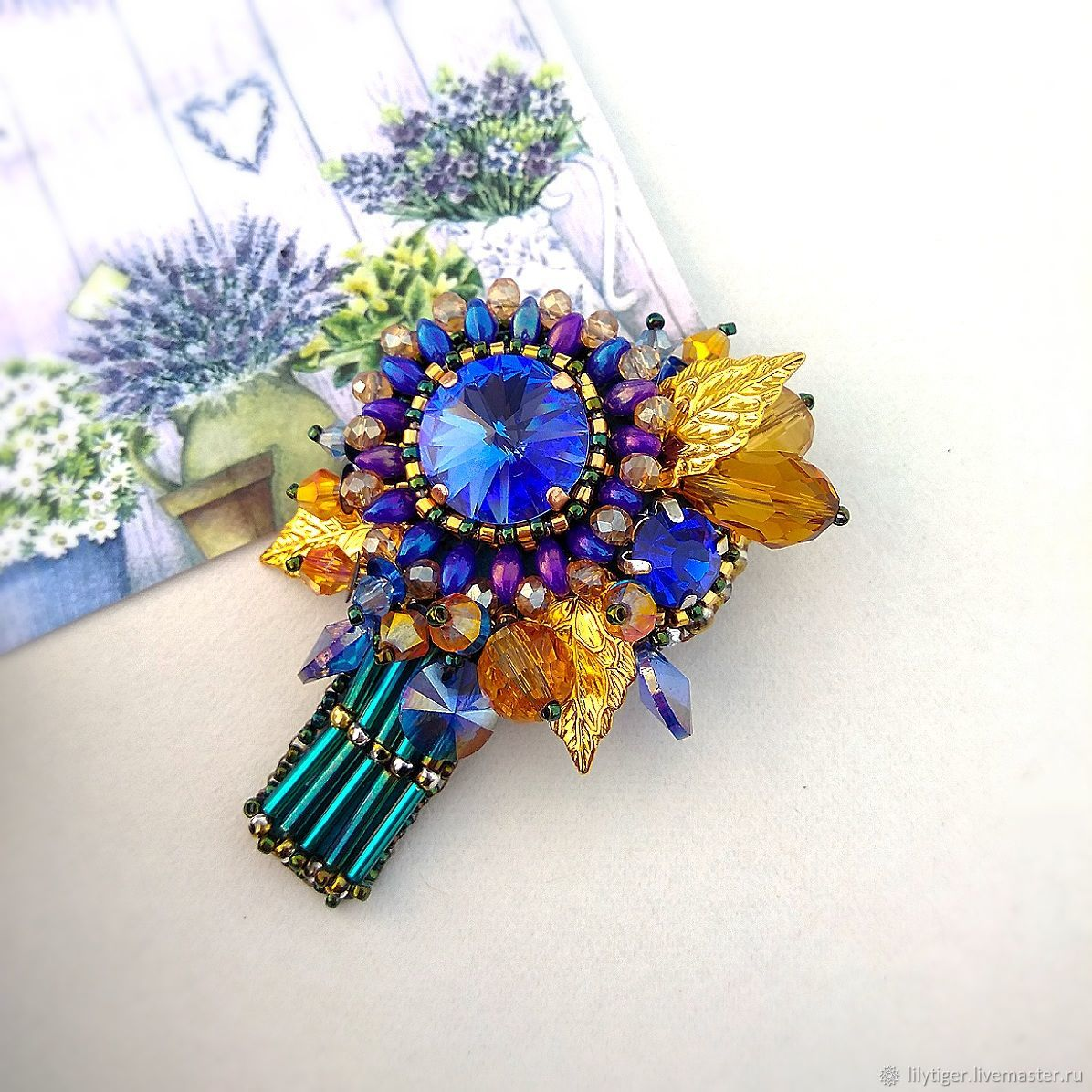 Brooch embroidered blue bouquet/Brooch buttonhole embroidery blue ...
