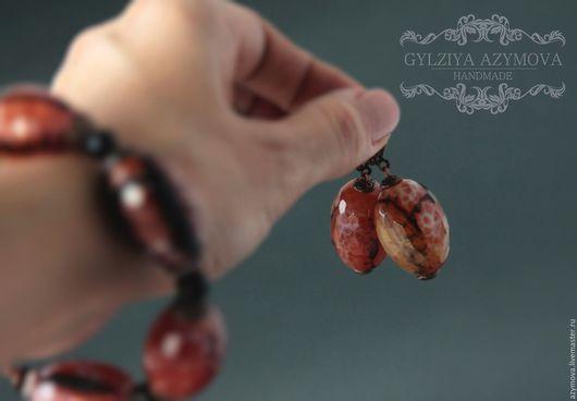 Колье, бусы ручной работы. Ярмарка Мастеров - ручная работа. Купить Серьги  .Натуральный агат. Handmade. Натуральные камни, колье